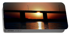 Sunset And Bridge Portable Battery Charger by Debra Forand