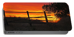 Sunset At Bear Butte Portable Battery Charger by Mary Carol Story