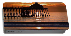 Sunset At Ib Pier Portable Battery Charger by Barbie Corbett-Newmin