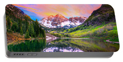 Sunset At Maroon Bells And Maroon Lake Aspen Co Portable Battery Charger