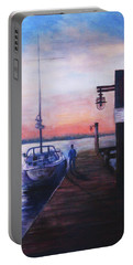 Portable Battery Charger featuring the painting Sunset At Rocky Point by Sher Nasser