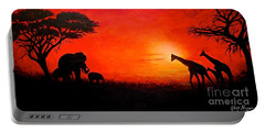 Portable Battery Charger featuring the painting Sunset At Serengeti by Sher Nasser