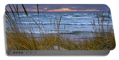 Sunset On The Beach At Lake Michigan With Dune Grass Portable Battery Charger