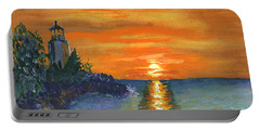 Sunset At The Lighthouse Portable Battery Charger