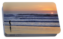 Portable Battery Charger featuring the photograph Sunset Beach Stroll  by AJ  Schibig