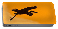 Portable Battery Charger featuring the drawing Sunset Flight by D Hackett