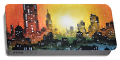 Sunset In The City Portable Battery Charger by Amy Giacomelli