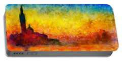 Portable Battery Charger featuring the painting Sunset In Venice by Claude Monet