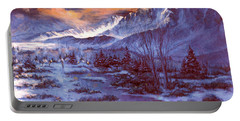 Portable Battery Charger featuring the painting Sunset Indian Village by Donna Tucker