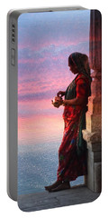 Sunset Lake Colorful Woman Rajasthani Udaipur India Portable Battery Charger