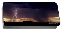 Portable Battery Charger featuring the photograph Sunset Lightning-signed by J L Woody Wooden