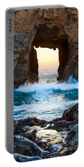 Sunset On Arch Rock In Pfeiffer Beach Big Sur. Portable Battery Charger