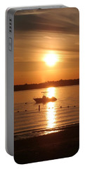 Portable Battery Charger featuring the photograph Sunset On Boat by Karen Silvestri