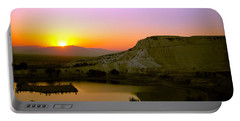 Portable Battery Charger featuring the photograph Sunset On Cotton Castles by Zafer Gurel