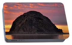 Portable Battery Charger featuring the photograph Sunset On Morro Rock by AJ  Schibig