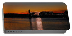 Sunset On Paul Brown Stadium Portable Battery Charger by Mary Carol Story