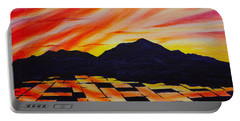 Portable Battery Charger featuring the painting Sunset On Rice Fields by Michele Myers