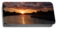 Sunset On The River Portable Battery Charger by Dave Files
