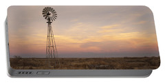 Sunset On The Texas Plains Portable Battery Charger by Melany Sarafis