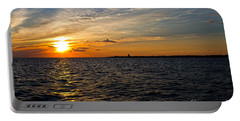 Sunset On The Water In Provincetown Portable Battery Charger by Eleanor Abramson