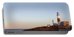 Sunset Over Montauk Lighthouse Portable Battery Charger by John Telfer