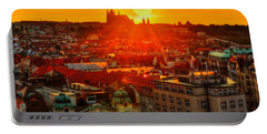 Sunset Over Prague Portable Battery Charger by Midori Chan