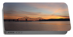 Sunset Over The Tappan Zee Bridge Portable Battery Charger by John Telfer