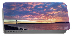 Sunset Over Verrazano Bridge And Narrows Waterway Portable Battery Charger by John Telfer