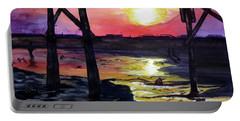 Portable Battery Charger featuring the painting Sunset Pier by Lil Taylor