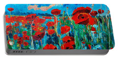 Portable Battery Charger featuring the painting Sunset Poppies by Ana Maria Edulescu