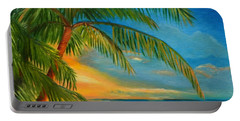 Sunset Reflections - Key West Sunset And Palm Trees Portable Battery Charger