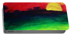 Portable Battery Charger featuring the painting Sunset by Salman Ravish