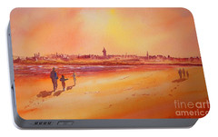 Portable Battery Charger featuring the painting Sunset St Andrews Scotland by Beatrice Cloake