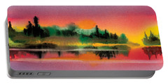 Portable Battery Charger featuring the painting Sunset by Teresa Ascone