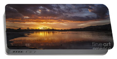 Sunset With Clouds Over Malibu Beach Lagoon Estuary Portable Battery Charger