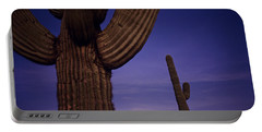 Sunset With Moonise Behind Saguaro Cactus In Desert Southwest Ar Portable Battery Charger