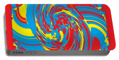 Portable Battery Charger featuring the painting Super Swirl by Catherine Lott