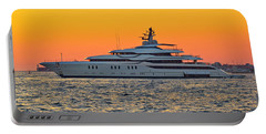 Superyacht On Yellow Sunset View Portable Battery Charger