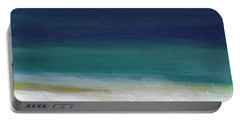 Surf And Sky- Abstract Beach Painting Portable Battery Charger by Linda Woods