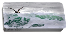 Portable Battery Charger featuring the photograph Surf N Pelican by AJ  Schibig