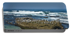 Surf Waves At La Jolla California With Gulls Perched On A Large Rock No. 0194 Portable Battery Charger