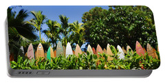 Surfboard Fence - Left Side Portable Battery Charger by Paulette B Wright