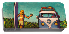 Surfer Girl And Vw Bus Portable Battery Charger