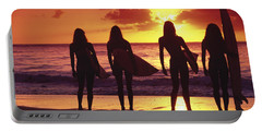 Surfer Girl Silhouettes Portable Battery Charger