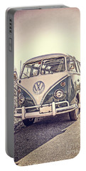 Surfer's Vintage Vw Samba Bus At The Beach Portable Battery Charger