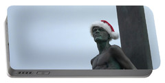 Portable Battery Charger featuring the photograph Surfing Santa by Lora Lee Chapman