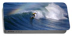 Surfing Under A Rainbow Portable Battery Charger by Catherine Sherman
