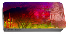 Portable Battery Charger featuring the digital art Surreal Buildings  by Cathy Anderson