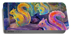 Surreal Squirrels In Square Portable Battery Charger
