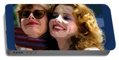 Susan Sarandon And Geena Davies Alias Thelma And Louis - Watercolor Portable Battery Charger